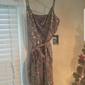 Express gold sequin cocktail dress